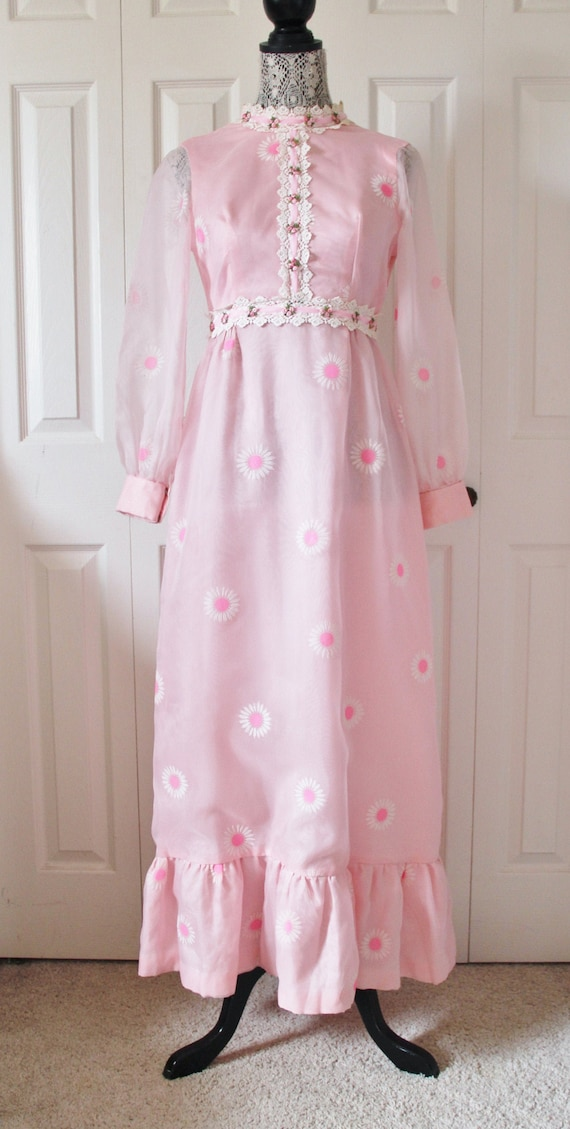 1960s Pink Floral Chiffon Maxi Dress Extra Small X
