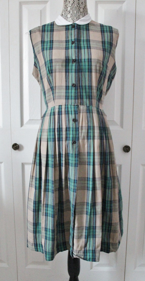 1950s Green and Blue Plaid Dress Large