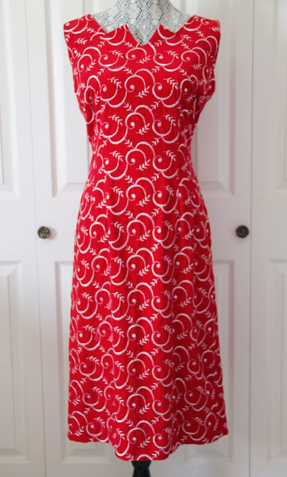 1960s Red Velvet Cocktail Wiggle Dress Large