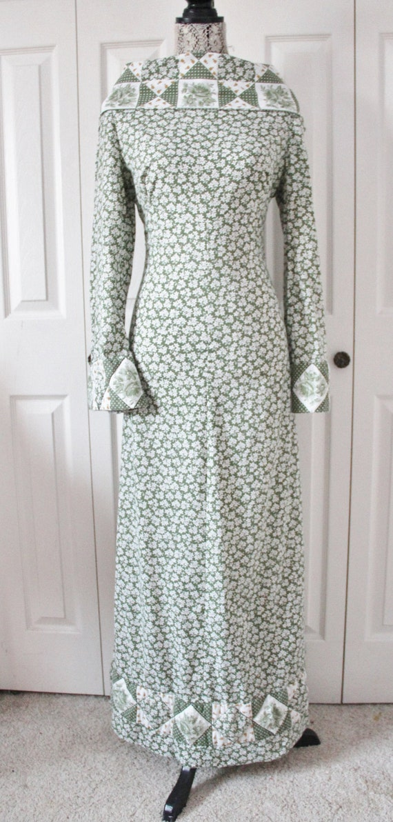 1970s Green Patchwork Maxi Dress Large