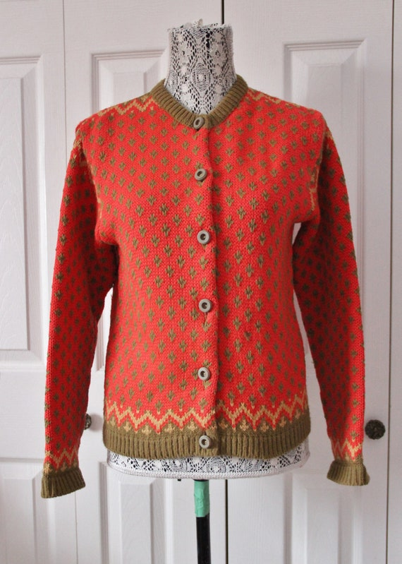 1950s Red and Green Patterned Champion Cardigan La