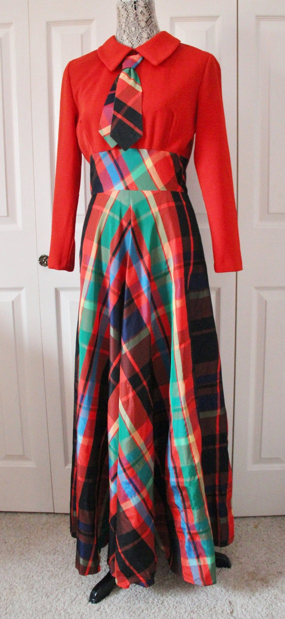 Late 1960s Date Mate Orange Red and Green Plaid S… - image 5