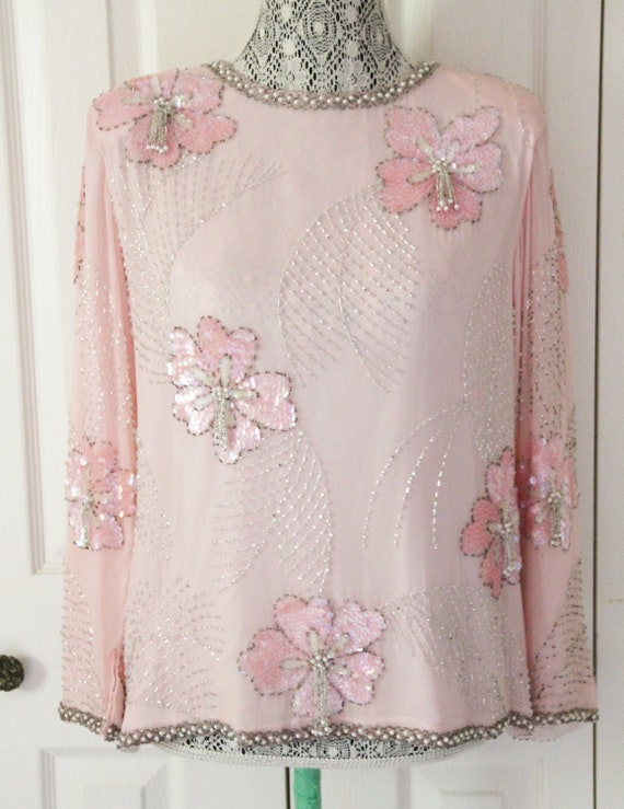1980s Pink Satin Beaded Shirt with Shoulder Pads M
