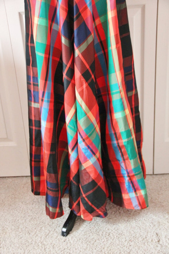 Late 1960s Date Mate Orange Red and Green Plaid S… - image 3