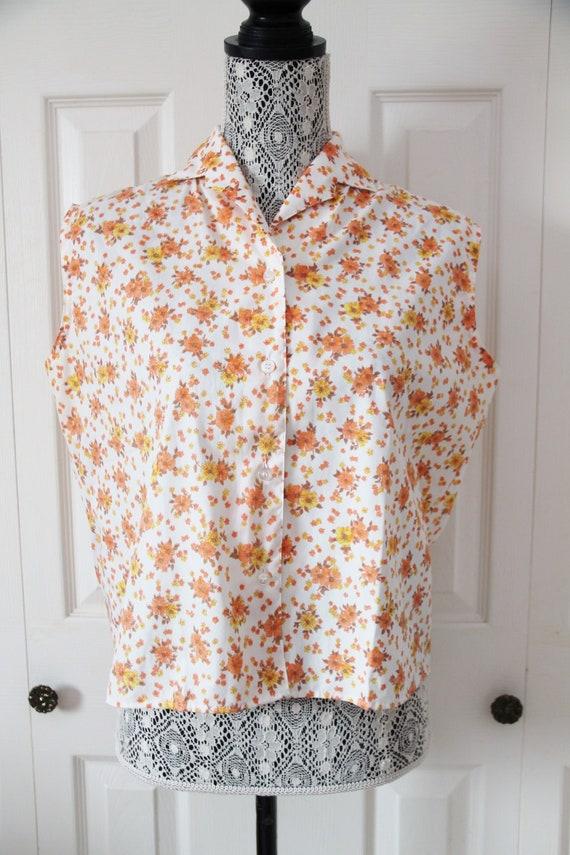 1960s Orange Floral Blouse Large