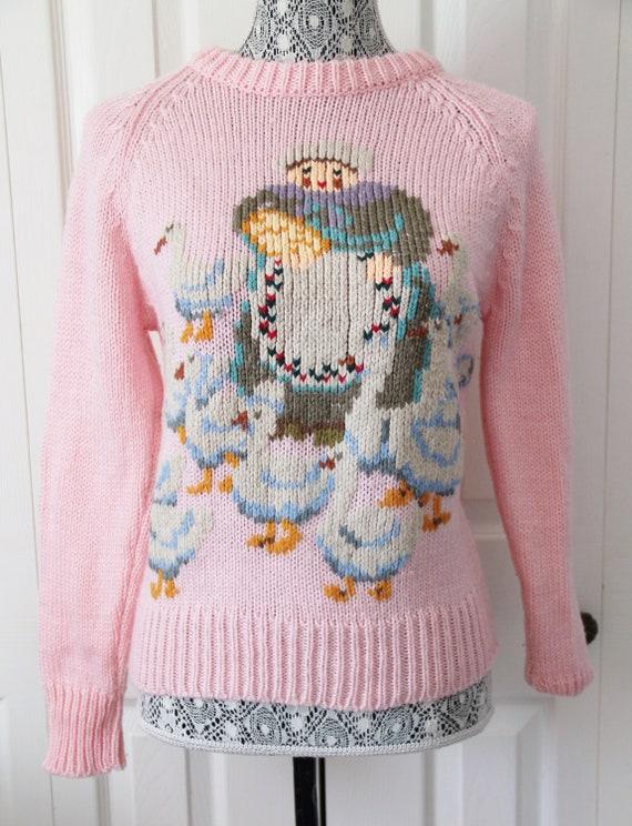 1980s Mother Hubbard Novelty Knit Sweater Medium