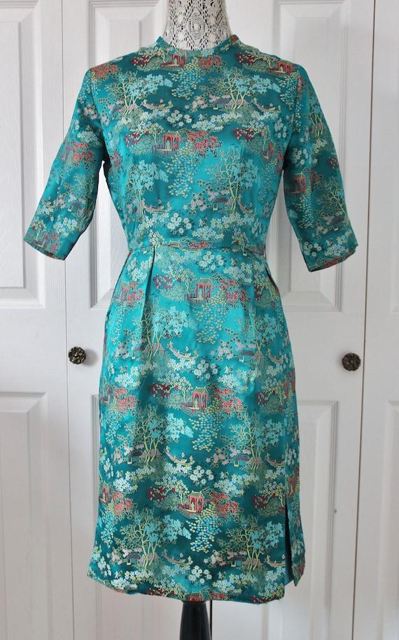 1960s Oriental Inspired Teal Silk Dress Medium