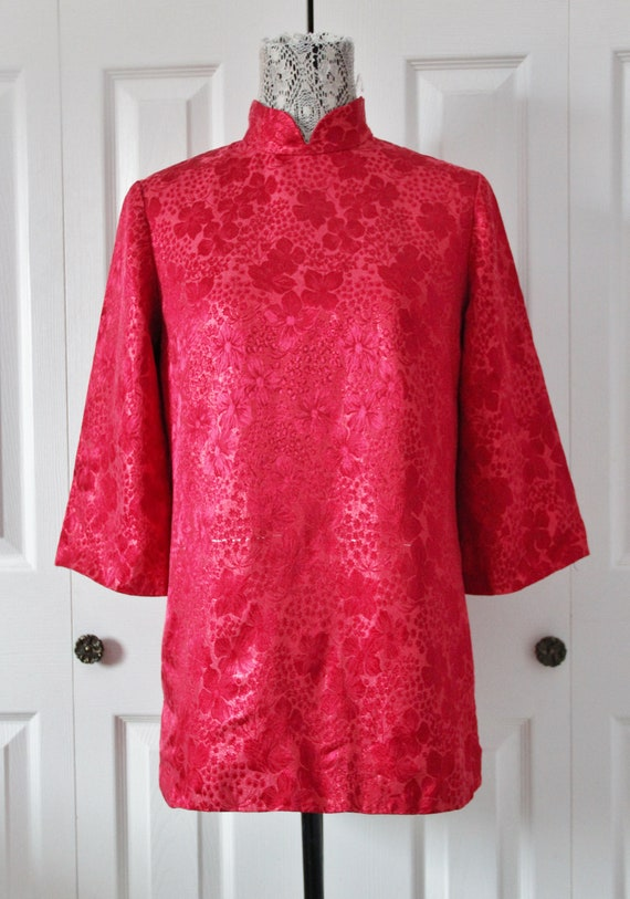 1960s Red Brocade Oriental Inspired Tunic Medium