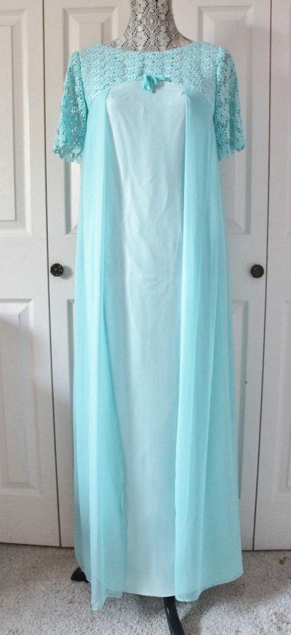 1960s Baby Blue Chiffon Prom Dress Small