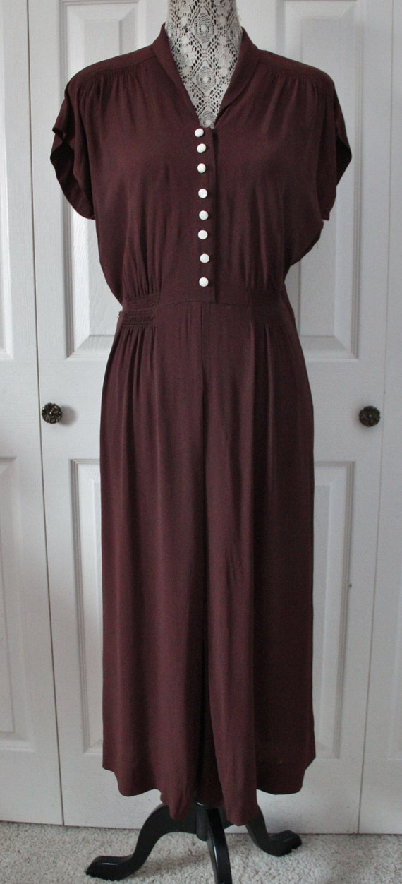 1940s Paul Sachs Burgundy Brown Day Dress Large