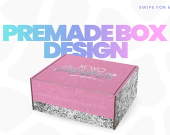Premade Box Design, Hair Business Packaging, Hair Extensions Branding, Custom Box, Subscription, Wig, Beauty, Lashes, Marketing, Pink
