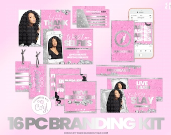 Hair Business Branding Kit, Instagram Template, Thank You Card, Flyer, Pink, Extension, Promo, Show Us Your Selfies, IG Story Highlight Icon