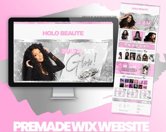 Hair Business Website Wix, Premade Beauty eCommerce Template, Boutique Web Site Design, Lip Gloss, Lash Extensions Tech, Salon, Makeup