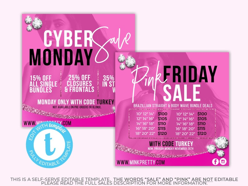 c501c534 Black Friday Bundle Deals Template Pink Friday Hair | Etsy