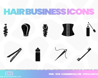 Hair business clipart, hair extensions icon, commercial use clip art, silhouette, wig maker, lip gloss, SVG, png, eps, templett, corjl, pod