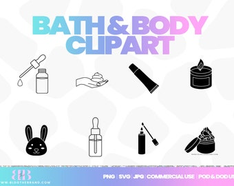 Body butter clipart, candle icon, dropper bottle clip art, beauty, essential oils, templett license, lip gloss, cream, commercial use, corjl
