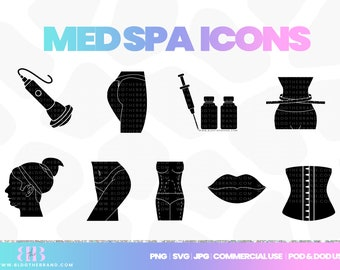 Med Spa clipart, body contouring icon, waist trainer, templett license clip art, lip filler, weight loss, botox, commercial use, corjl