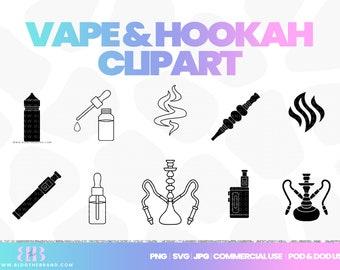 Hookah clipart, vape icons, smoke shop, e-liquid, e-juice, vape mod, commercial use, templett license clip art, corjl, cigarette, merch