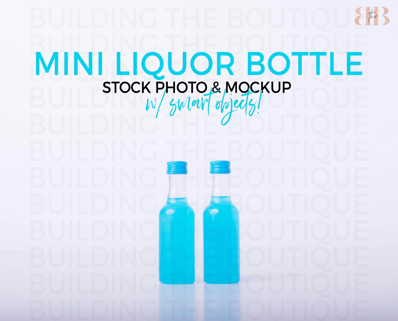 Mini Liquor Bottle Mockup Shot Bottle Stock Photo Blue Kinky Etsy