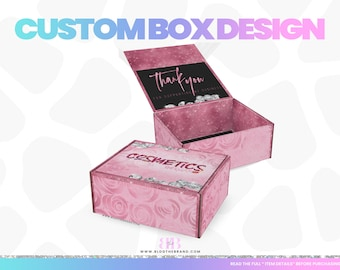 Custom box packaging with logo, wig box design, hair extensions business, subscription box, lashes, feminine branding, boutique, fashion