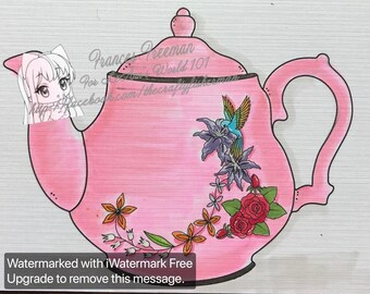 Hummingbird Teapot - Digital Stamp