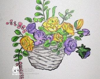 Basket of Blooms - Digital Stamp