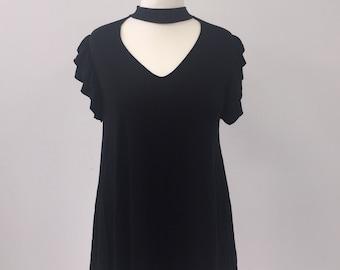 7e21b9c965b ladies black t shirt tunic top with detailed back womens plus size 16 - 26  bnwt