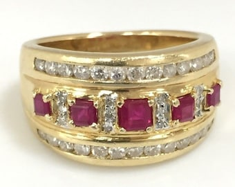 14K Yellow Gold Ruby & Appr. 2/3 ctw Diamonds Band Ring Size 6.25 #SS35