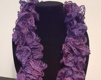 Solid Purple Handmade Crochet Scarf