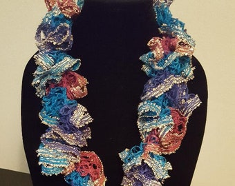 Blue Purple Handmade Crochet Scarf with Gold Sequins