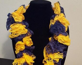 Blue and Yellow Handmade Crochet Scarf