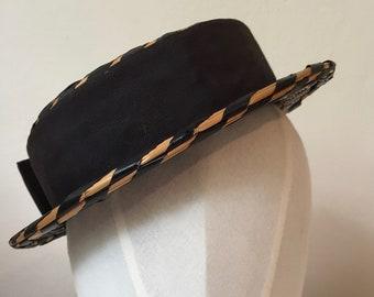 Black Edwardian straw boater hat. Two tone straw boater. 1900s straw hat.  Womens boater hat. Antique summer hat. Colette Hat. Art Deco hat afd6950edb03