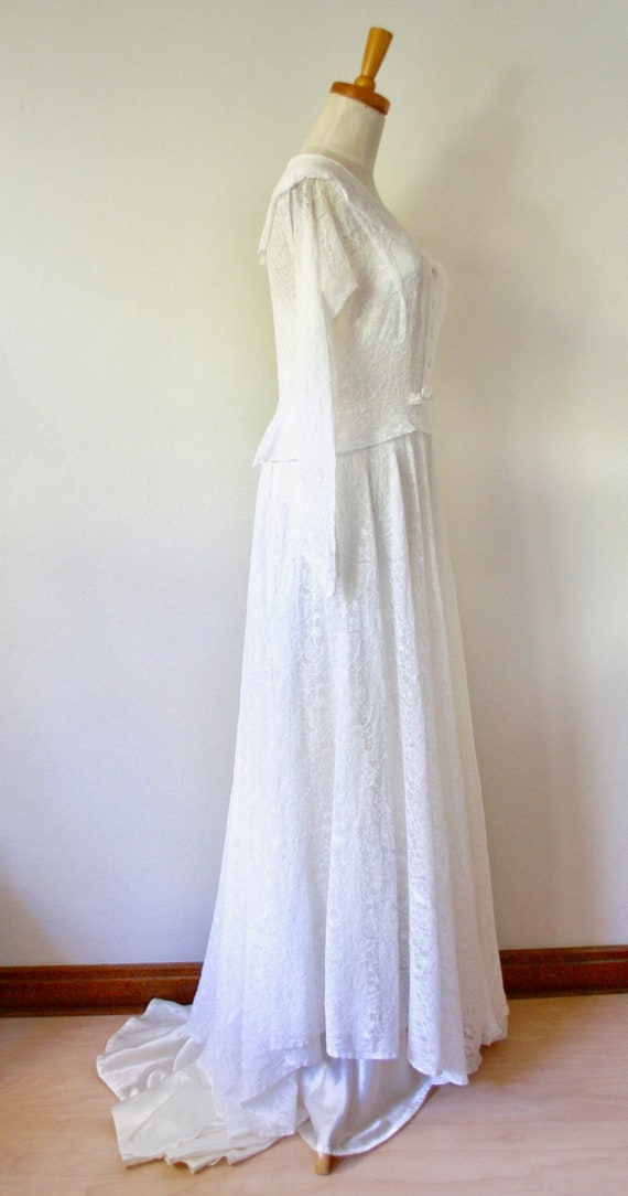 30s lace wedding dress. 30s silk and lace gown. 3… - image 4