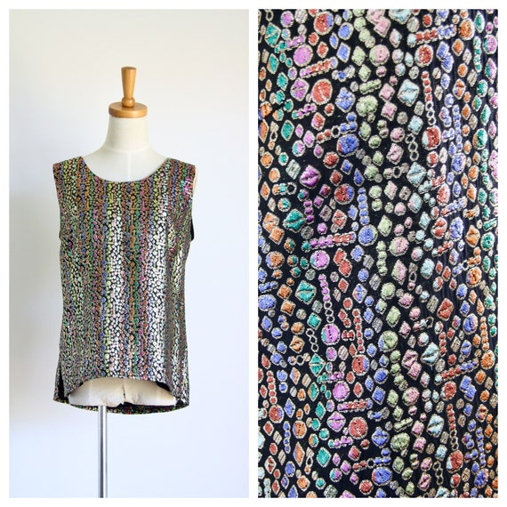 Vintage rainbow lurex top. 1980s sparkle top. 1960