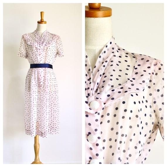 1940s pale pink polka dot sheer dress. 40s 50s she
