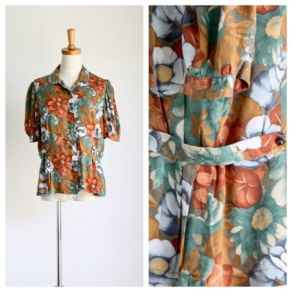 1930s/40s silk floral blouse. Fall flowers blouse.