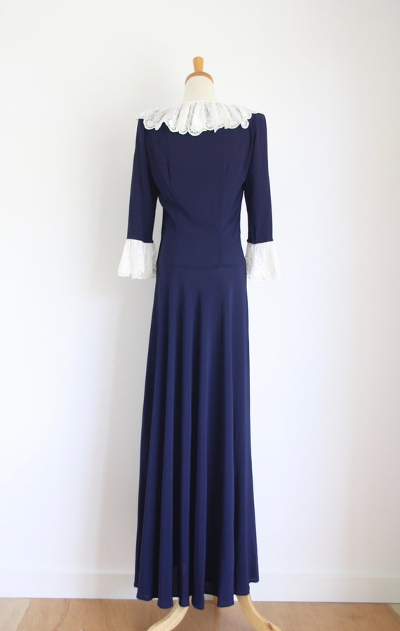 30s Blue crepe ruffle gown. Ink blue 1930s dress.… - image 6