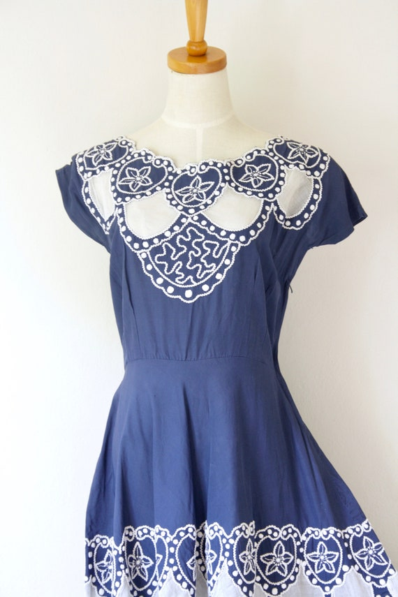 1940s blue embroidered soutache cutout dress. Blu… - image 2