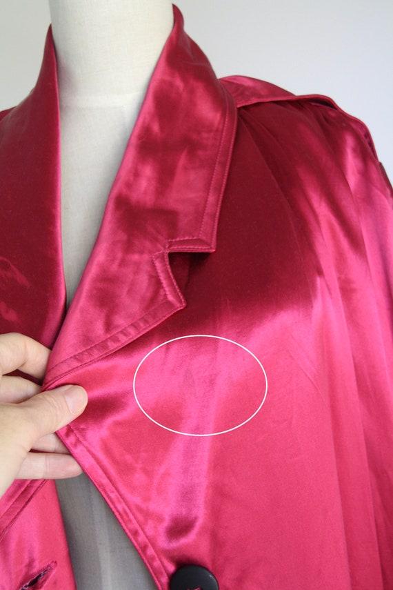 Vintage magenta satin coat. 1980s pink trench coa… - image 7