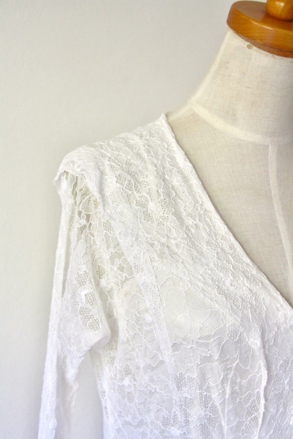 30s lace wedding dress. 30s silk and lace gown. 3… - image 10