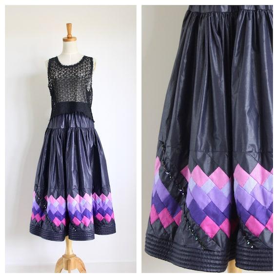 Navy blue patchwork skirt. 1980s vintage folk skir