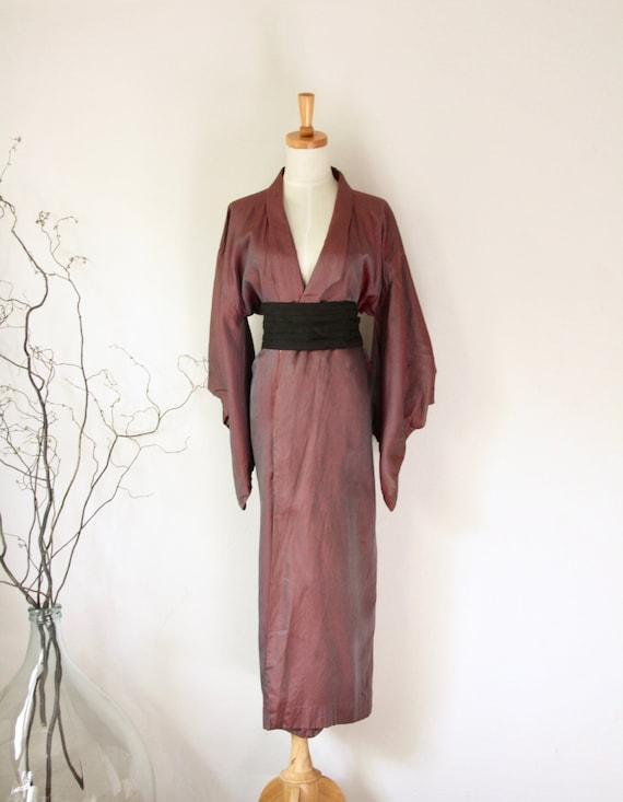 Vintage maroon pinstripe Kimono. Avant Garde Japan