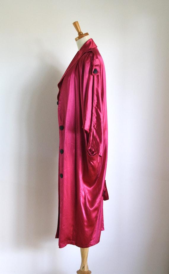 Vintage magenta satin coat. 1980s pink trench coa… - image 3
