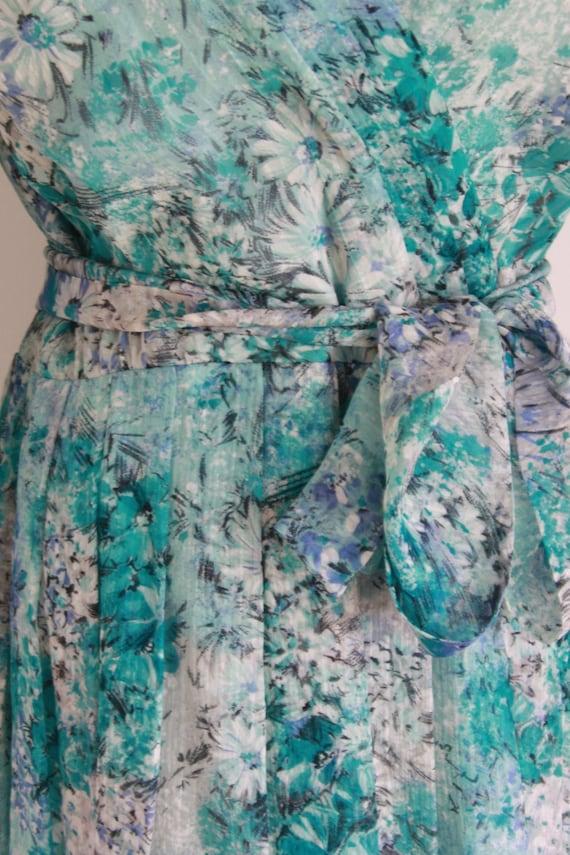 Vintage silk floral day dress. Blue Silk chiffon … - image 8