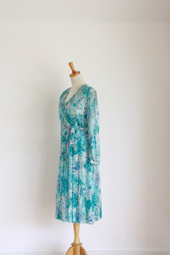 Vintage silk floral day dress. Blue Silk chiffon … - image 5