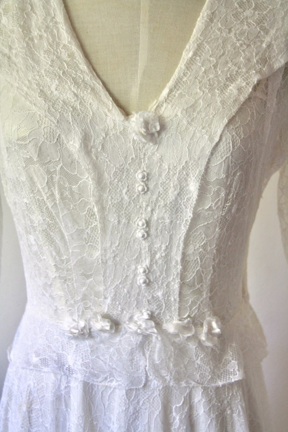 30s lace wedding dress. 30s silk and lace gown. 3… - image 5