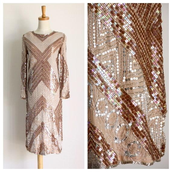 Vintage sequin sheath dress. Adolfo Tan sequin par