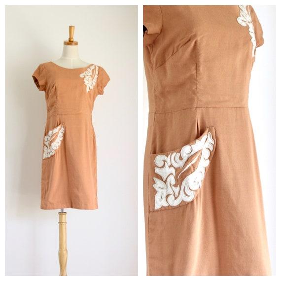 1940s linen applique dress. 1940s linen terracotta