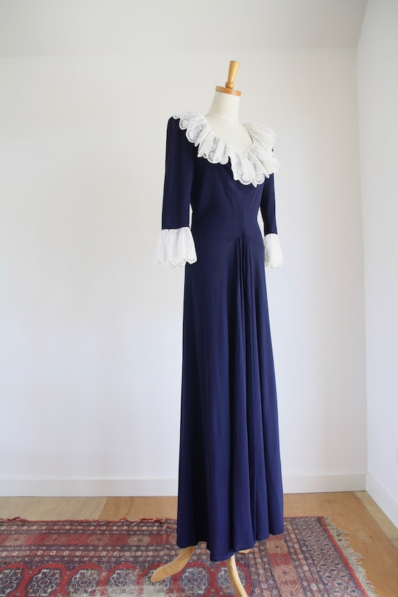 30s Blue crepe ruffle gown. Ink blue 1930s dress.… - image 8