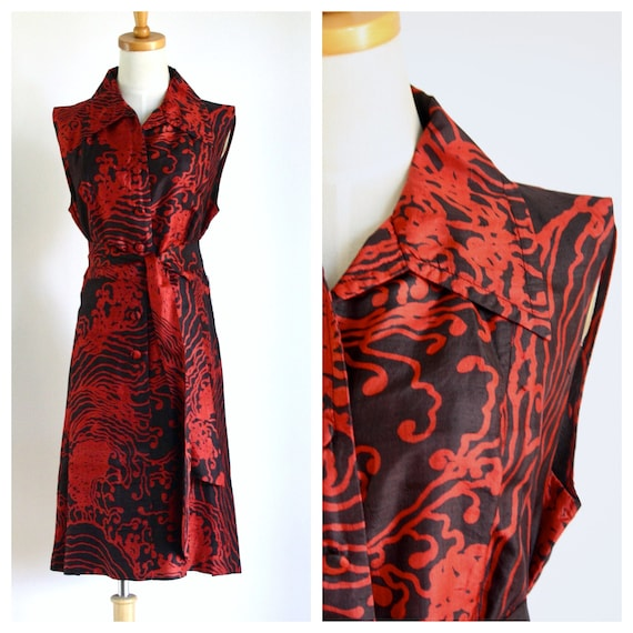 Vintage red silk dress. Chinoiserie dress. Raw sil